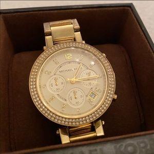Michael Kors gold watch with rhinestones